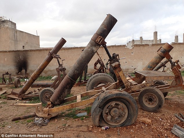 Mortar launchers used by ISIS during the siege sit in ruins after the jihadis were forced from the city