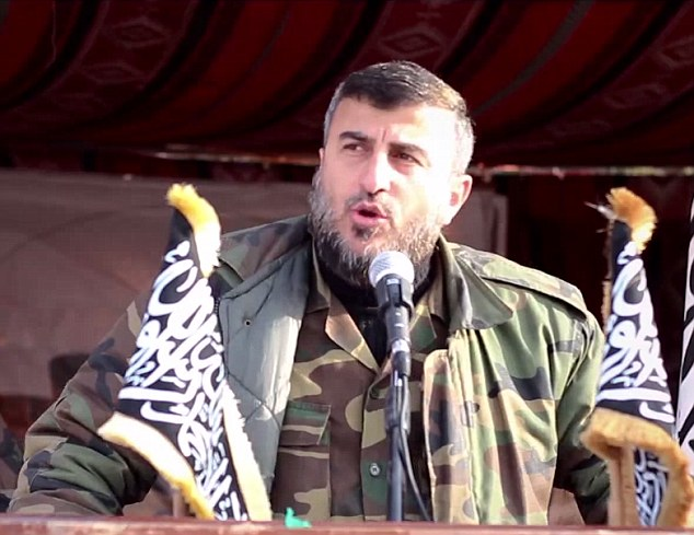 Commander: The group is led by Sheikh Zahran Aloush (pictured), who is considered one of the most powerful leaders in rebel-held Syria