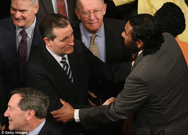 If elevated to the Oval Office, the 44-year-old senator said he'd also push for criminal justice reforms, but Americans would be able to count on their president not 'inflaming racial tensions, rather have the president working to appeal to our shared values.' Cruz is pictured here with Rep. Al Green, right, during a joint meeting of Congress at the U.S. Capitol yesterday