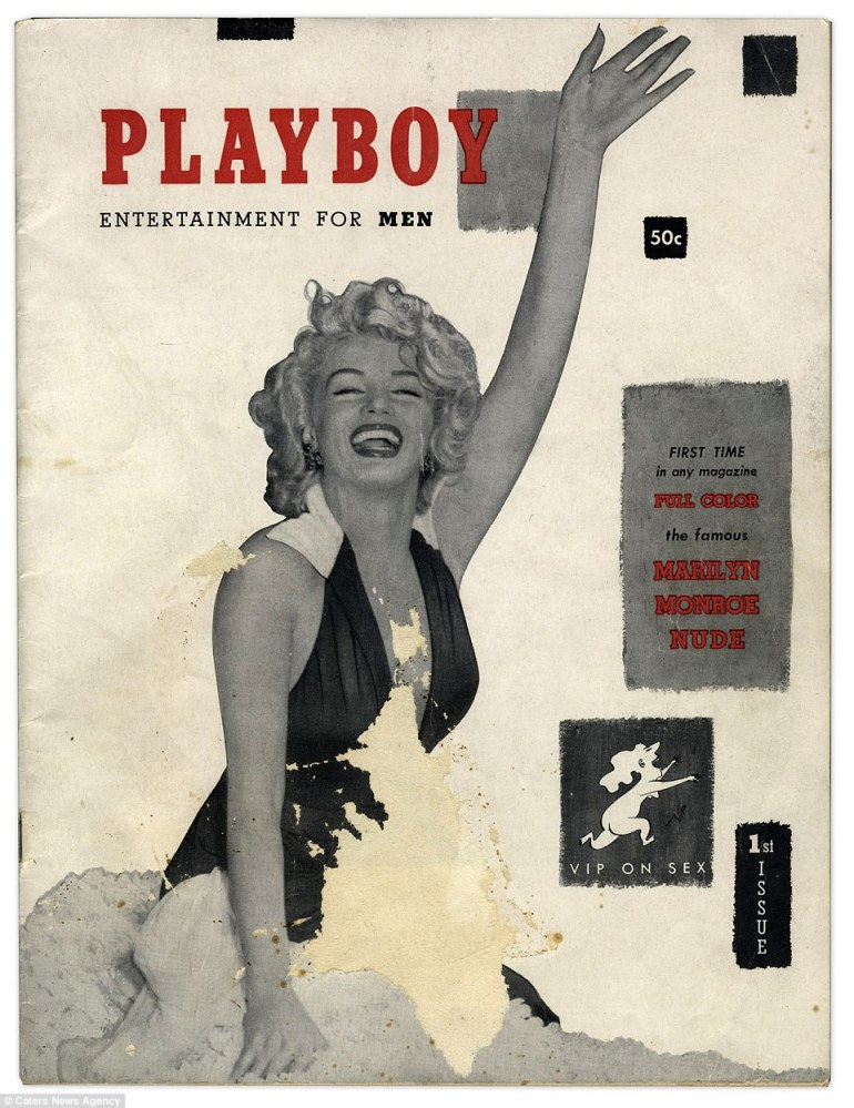 Original: The first copy of Playboy magazine featuring Marilyn Monroe as centerfold is to go under the hammer Thursday in Los Angeles. A world away from its modern, glossy successor, this copy boasts it is the first full color magazine but is in black, white, grey and a touch of red