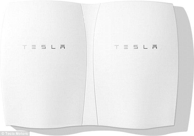 The future? Pictured are two units of the Tesla Powerwall - a home battery which can hold 7 kilowatt-hours of electricity, enough to meet a quarter of the average home's energy needs