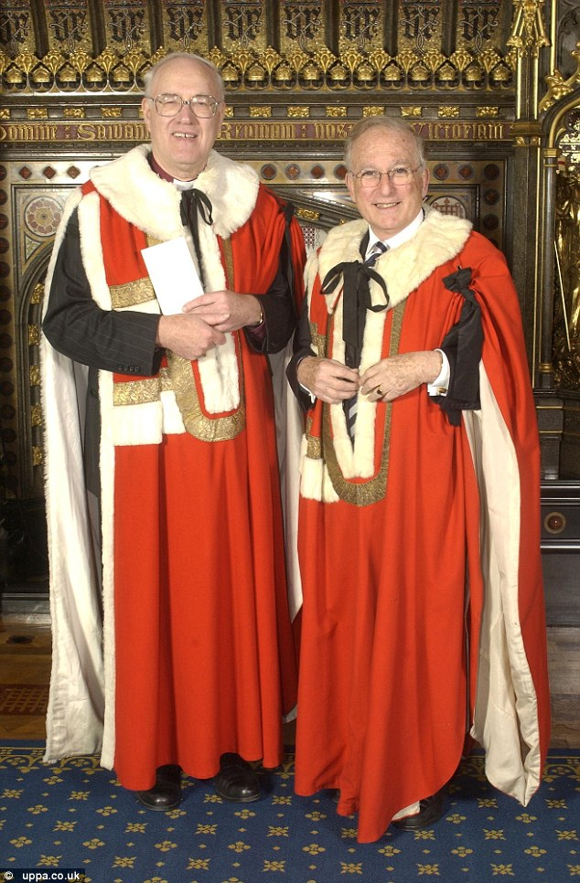 Lord Janner (right) sponsored Lord Carey of Clifton, who was previously Archbishop of Canterbury, on his introduction into the House of Lords in 2002