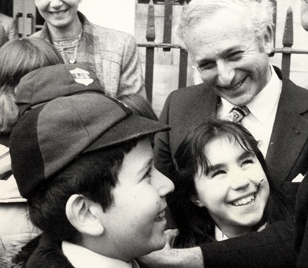 Then MP Greville Janner with young schoolchildren when he was President of the Board of Deputies and lay leader of the British Jewish community