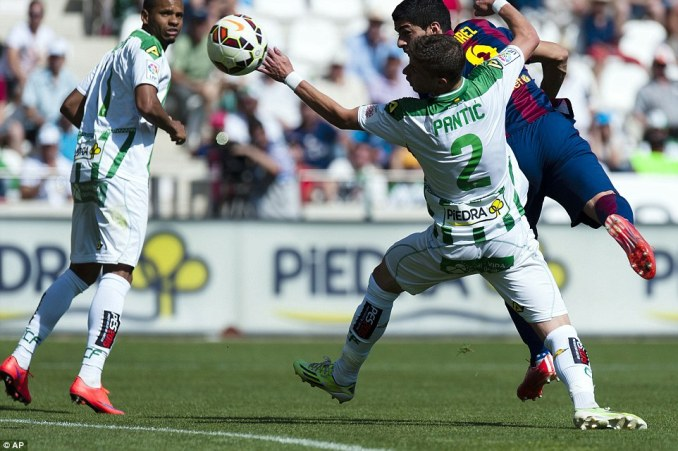 Suarez bagged a hat-trick against Cordoba on Saturday as Barcelona edged close to another Spanish league title