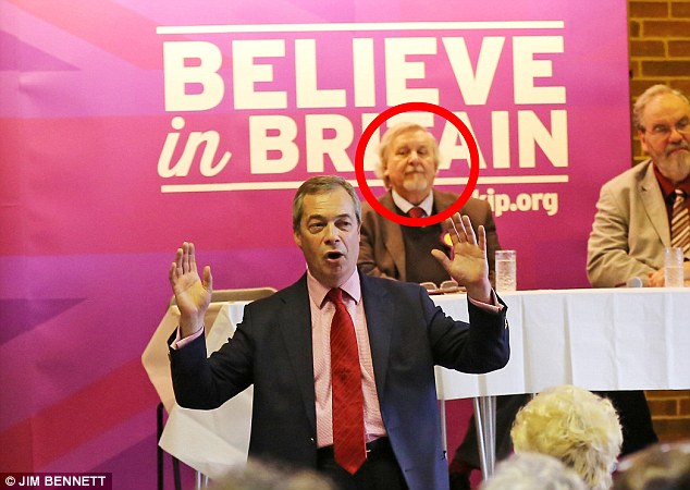 Now: Mr Heale (circled), behind Mr Farage at a Ukip event, claims the National Front (NF) was just 'a bit of a social club' when he ran the local group in 1978