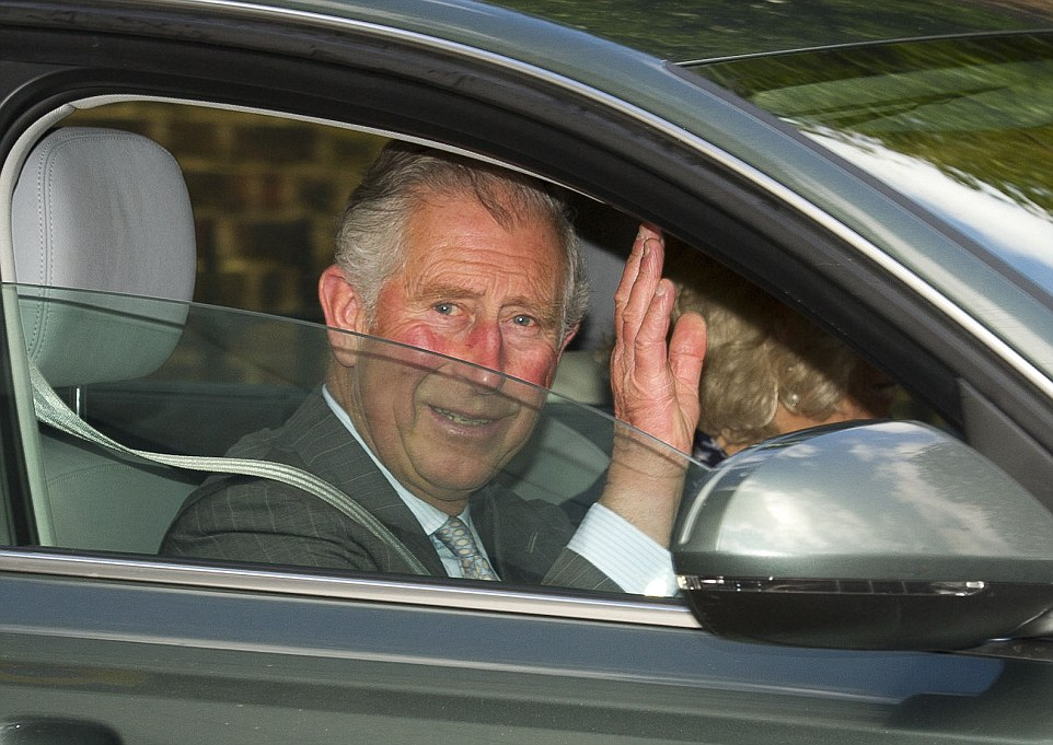 Prince Charles waved as he left Kensington Palace on Sunday after spending an hour-and-a-half getting to know his new granddaughter