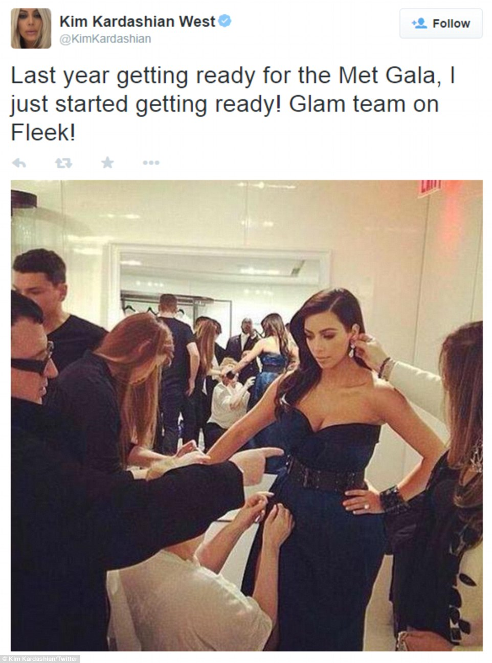 The glam squad: Kim got pumped before her arrival by posting snaps from her Met experience last year