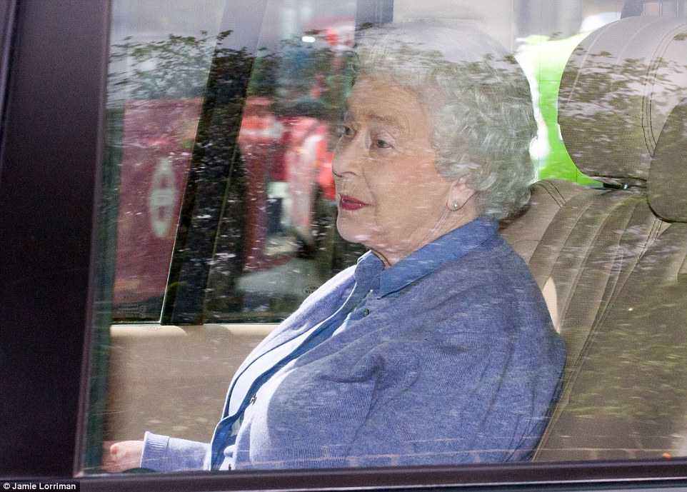 The Queen was driven to Kensington Palace this afternoon where she was introduced to her great-grandaughter, Princess Charlotte