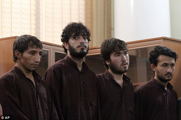 Convicted: These four men were sentenced to death for their role in killingFarkhunda in a frenzied mob attack in the capital Kabul earlier this year