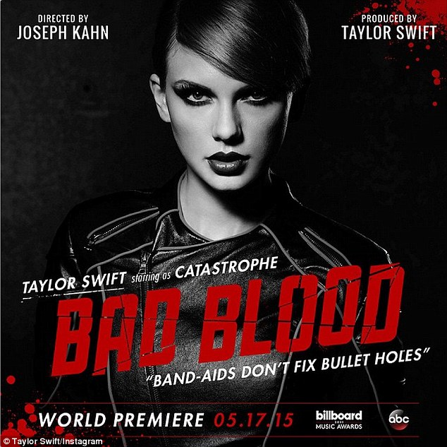 With a vengeance: Taylor Swift released new Bad Blood character posters on her Twitter and Instagram accounts on Wednesday