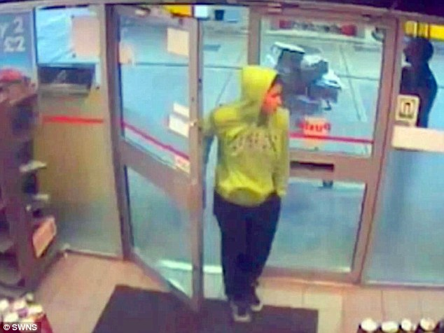 In the final clip, Abugtila, dressed in a bright yellow Cambridge University hoodie, entered a petrol station