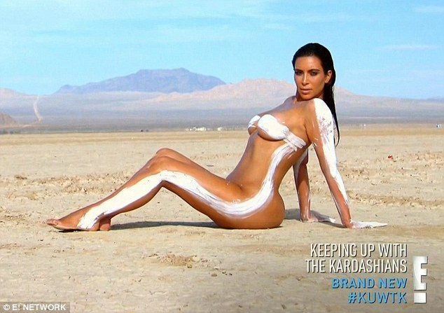 For art: Kim Kardashianshowed off all her curves as she posed for the sexy pictures for her website on the latest episode of Keeping Up With the Kardashians on Sunday