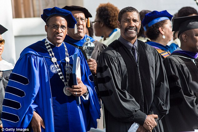 Photograph of Denzel Washington at Dillard University Graduation as Guest Speaker