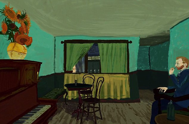 The image also include the iconic sunflowers, and even the chair from the artist's apartment