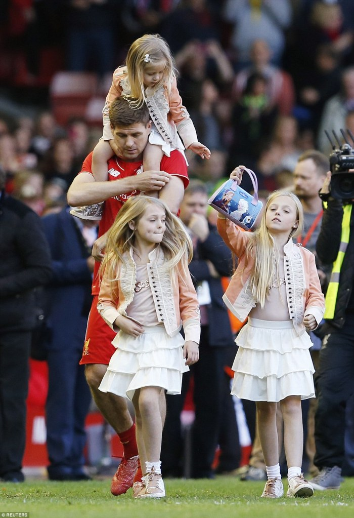 Moving on: Gerrard, with his three daughters, will move to LA Galaxy in June after an illustrious career at Liverpool
