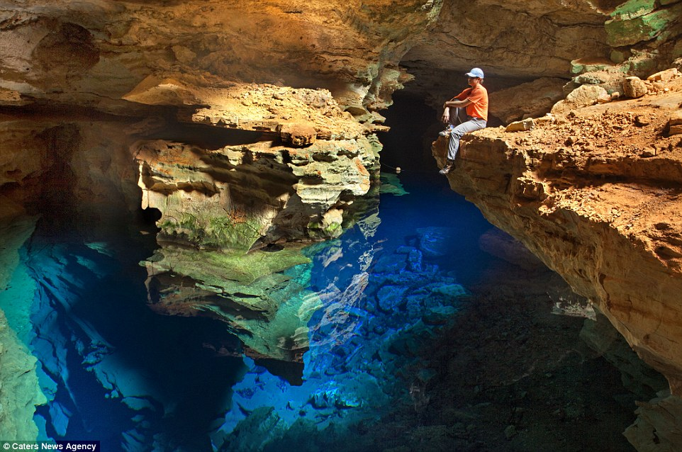 Located in Chapada Diamantina National Park, it appears as though the cave is 'invisible' as its difficult to tell where the water begins