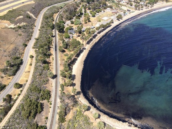 An estimated 21,000 gallons of crude oil dumped into the ocean from a broken pipeline Tuesday in California