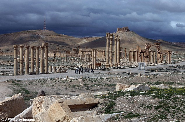 Archaeological jewel: The city is home to a UNESCO World Heritage site.Jihadi fighters have been stalking homes and shops looking for survivors, using loudspeakers to warn residents not to shelter any troops