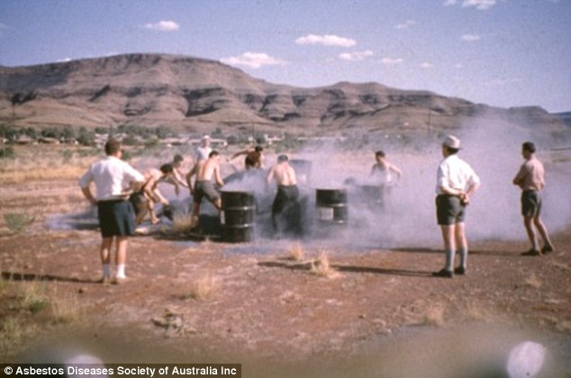 Miners playing an asbestos shovelling competition in the West Australian town of Wittenham. All of the men in the image but one have since died from exposure to the deadly mineral