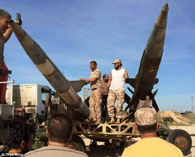 Enemy: Opposition forces such as Libya Dawn (pictured), who have been battling government troops since 2011, appear to have equipped their vehicles with huge missiles