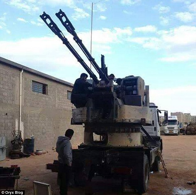Powerful: Oryx claims a truck belonging to Libya Dawn (pictured) driving through Libya in early April carried a 76mm machine gun