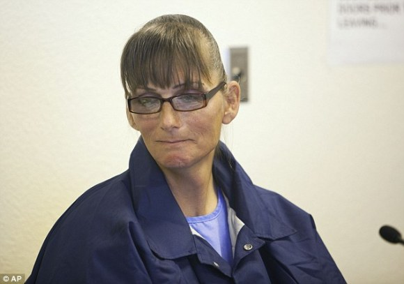 Bittersweet moment: Michelle-Lael Norsworthy, a transgender inmate awaiting sex reassignment surgery, smiles after her parole was granted after a hearing at Mule Creek State Prison in California Thursday