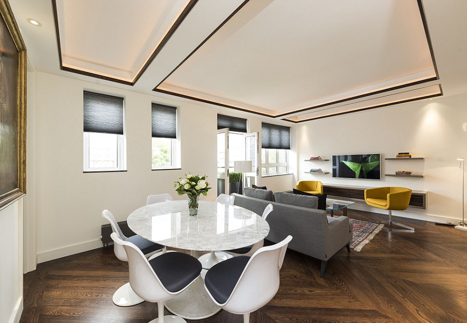 Modern: The near-identical apartments in South Kensington are marketed as being in 'a highly sought-after location which hosts an array of local amenities as well as upmarket shops, bars and restaurants'