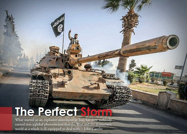 Propaganda: In an article entitled 'The Perfect Storm', it is claimed ISIS has billions of dollars in the bank and describes a 'hypothetical operation' which involves it buying a nuclear bomb