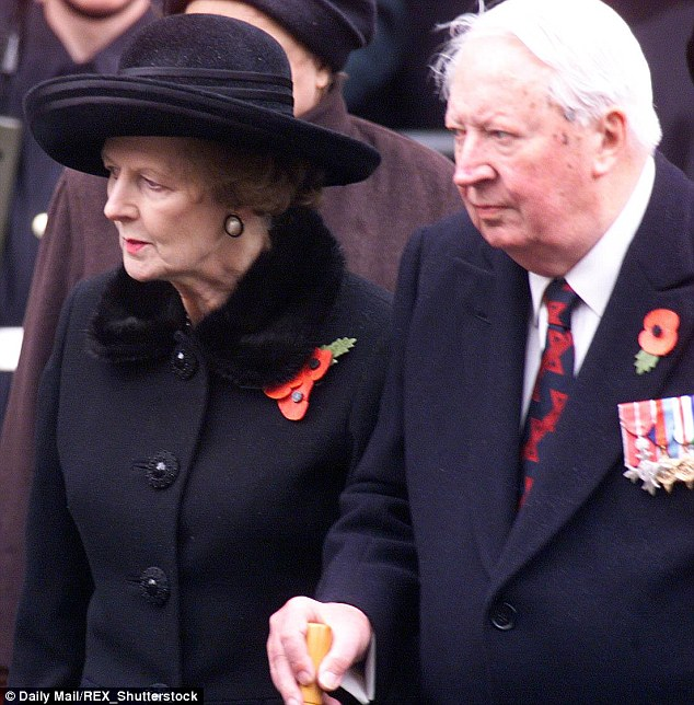 Former leaders: Margaret Thatcher and Ted Heath stand side by side at Remembrance Service At the Cenotaph in 1999