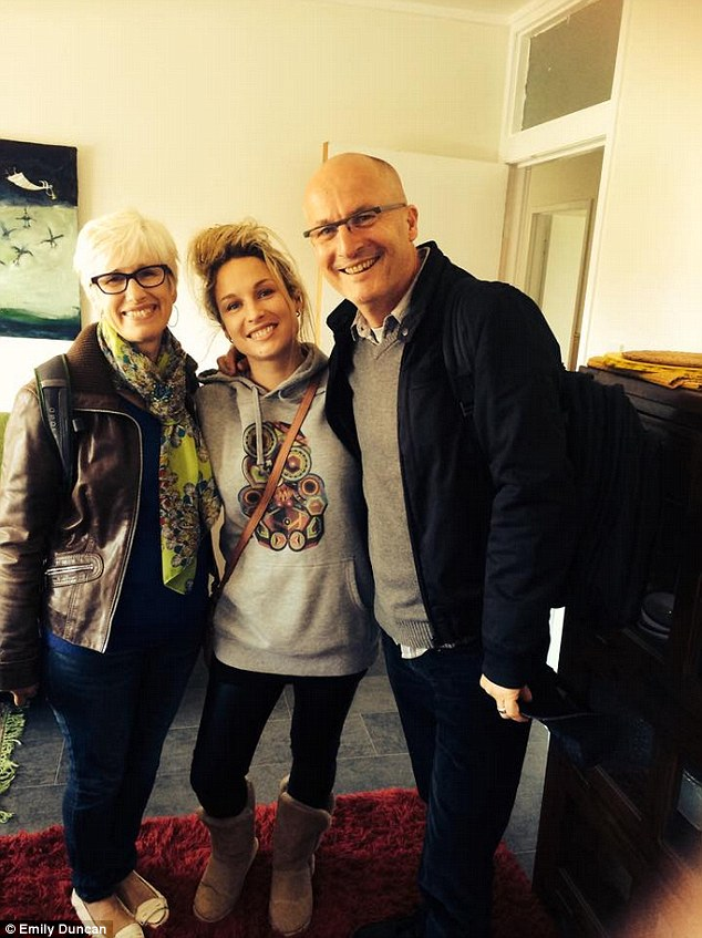 After getting her life back on track, she reconnected with her family again (from left: mum, Emily and dad)