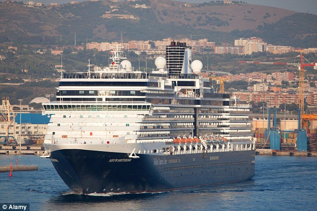 A civil lawsuit brought by a rape victim against cruise company Holland America alleges that security was so lax on the MS Niuew Amsterdam (pictured) that her ordeal went on for 45 minutes because staff could not access her room