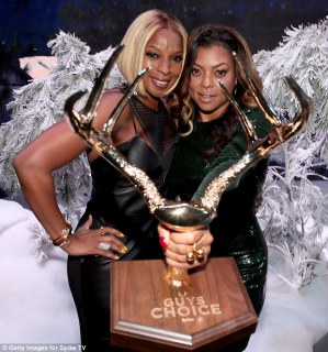 Golden: The 44-year-old actress was presented with the golden antlers by singer Mary J. Blige