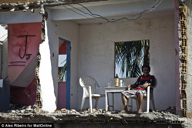 Left high and dry: Luis told MailOnline that they also destroyed the water supply when the house was demolished, meaning that he hasn't had a shower in 15 days. He added: 'I finally get rid of her and now I stink'
