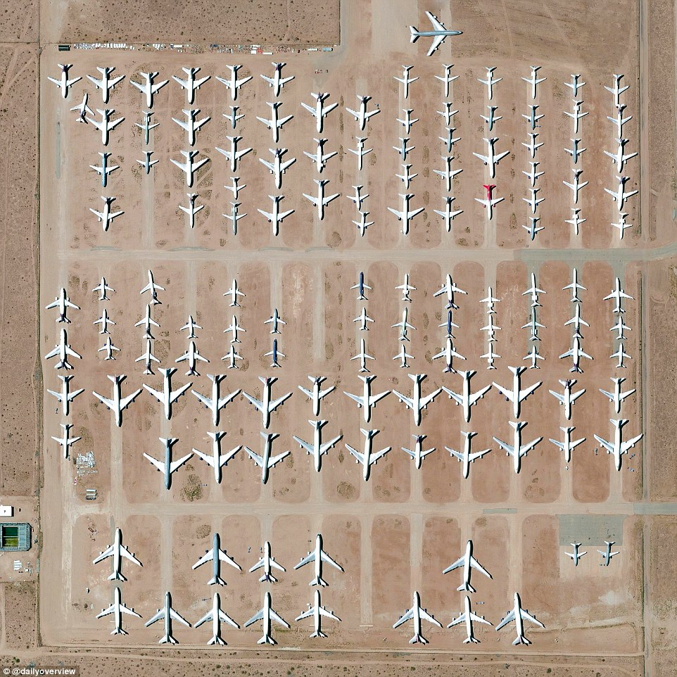 The Southern California Logistics Airport in Victorville, California, has a large boneyard of over 150 retired planes