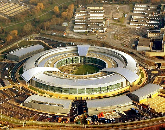 nowden said he was protecting 'privacy and basic liberties' by leaking over one million confidential files and claimed America's NSA and British-based GCHQ (pictured) were spying on innocent people