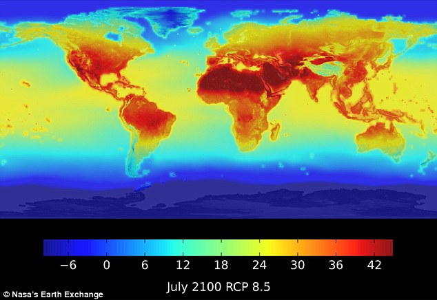 Nasa has released new data that show how temperature and rainfall patterns will change around the world by 2100. The map above, produced using the data, shows the maximum daily temperatures in July under climate scenarios that predict carbon dioxide levels in the atmosphere will reach 935 parts per million