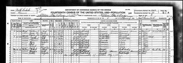 A 1920 census from Killdeer, North Dakota, showing Sam and Huldah Rhoades, Rachel Dolezal's second great grandparents.
