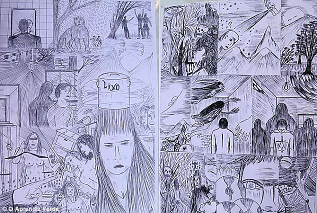 Mental illness: Negromonte (his drawings above) was diagnosed with schizophrenia as a child because he told his father about two imaginary boys who ordered him to do things. The killer claims that his 'witch' mistress took advantage of his illness and ordered him to stop taking his medication before the murders