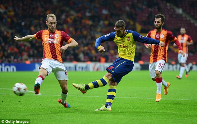 Podolski, pictured scoring against Galatasaray in 2014, is set to join the Turkish club on a four-year deal