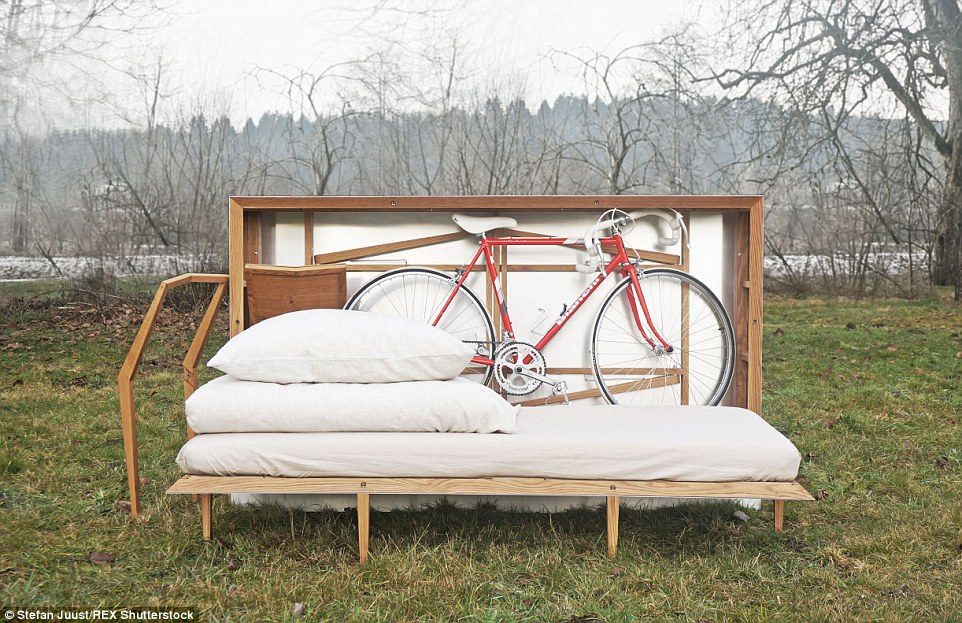 The Travelbox manages to store a fold-up bed, dining table and chairs, clothing and even a bicycle despite its small frame