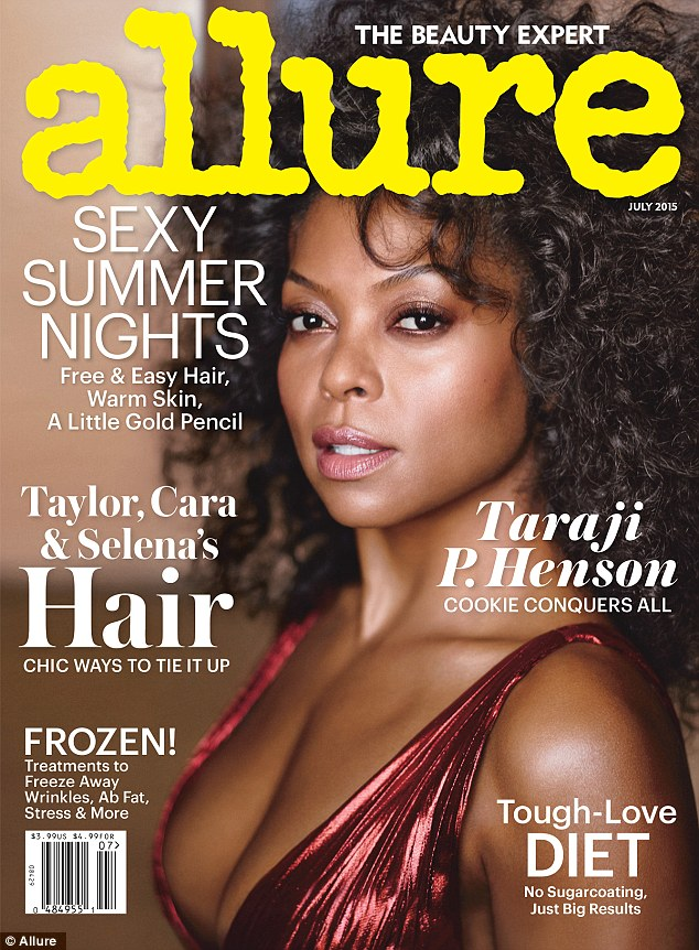 Cover girl: Taraji smoulders for Allure's July issue, turning heads in a revealing red number