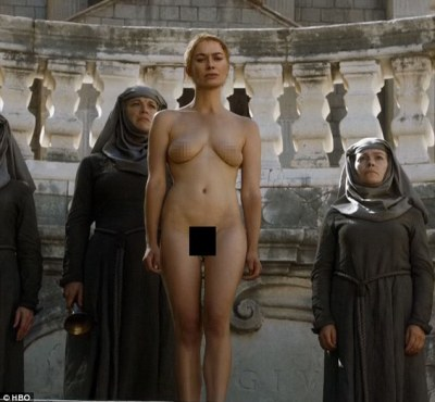 Walk of shame: The harrowing series five finale of Game Of Thrones saw Cercei Lannister forced to walk naked before a baying mob