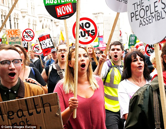 Brandishing an End Austerity Now placard Church said she was inspired by the surge of the Scottish National Party she said 'absolutely'