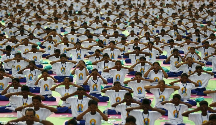 Thousands took part in mass practices like this group taking part in a breathing exercise in new Delhi, India