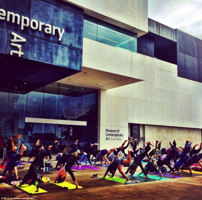 Sydney yogis embrace International Yoga day, bringing their colourful mats to stretch at the Museum of Contemporary Art in the city