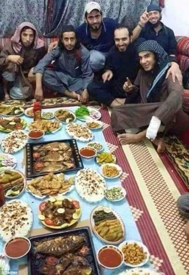 Feasting: At least 45 ISIS fighters have reportedly died after breaking their Ramadan fast with a meal laced with poison (file photo)