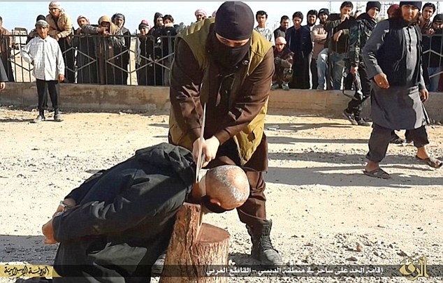 Deadly: The unnamed Indonesian blood donor is understood to have been brutally executed by ISIS fighters based in Shaddadi, south Hasaka province, when it emerged he had been suffering from Aids (File image)