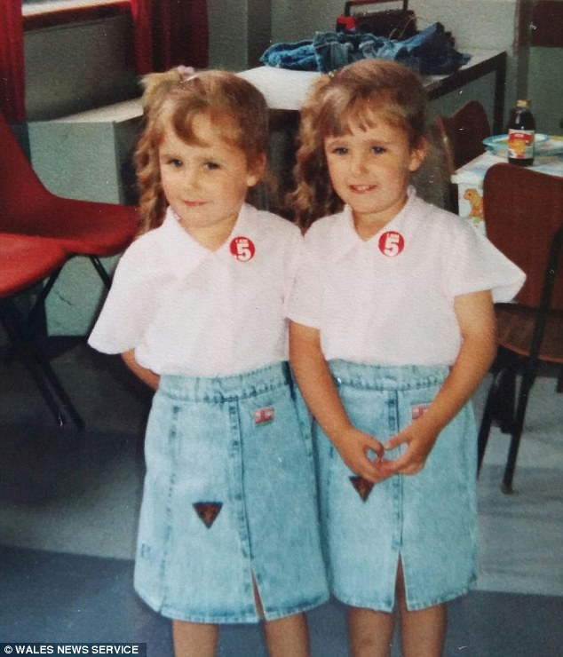 Clare and Karen on their 5th birthday in 1988