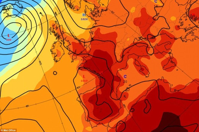 Red alert: This is the Met Office's surface temperature forecast for next Wednesday, which is also expected to be a very hot day