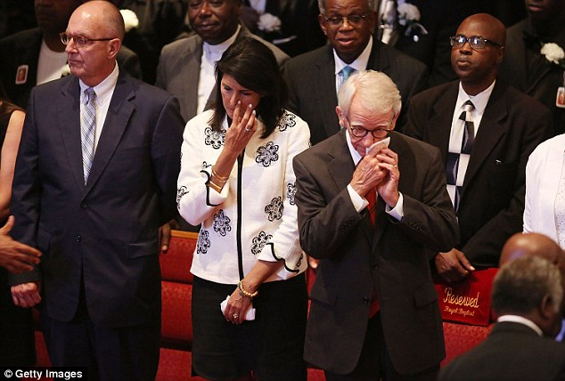 Conversation: Charleston mayor Joseph Riley (right) with South Carolina governor Nikki Haley  at the funeral yesterday of Ethel Lance, 70, one of the nine victims of the EMA mass murders